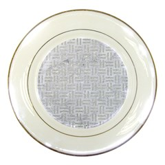Woven1 White Marble & Silver Glitter (r) Porcelain Plates by trendistuff
