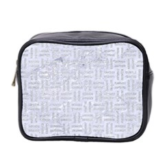 Woven1 White Marble & Silver Glitter (r) Mini Toiletries Bag 2 Side by trendistuff