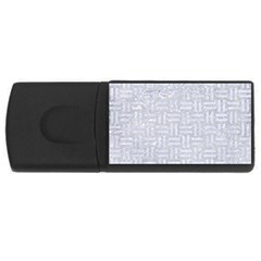 Woven1 White Marble & Silver Glitter Rectangular Usb Flash Drive by trendistuff
