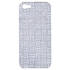 Woven1 White Marble & Silver Glitter Apple Iphone 5 Hardshell Case by trendistuff