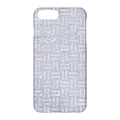Woven1 White Marble & Silver Glitter Apple Iphone 8 Plus Hardshell Case by trendistuff