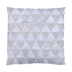 Triangle3 White Marble & Silver Glitter Standard Cushion Case (two Sides) by trendistuff