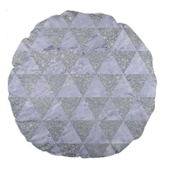 Triangle3 White Marble & Silver Glitter Large 18  Premium Round Cushions by trendistuff