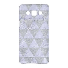 Triangle3 White Marble & Silver Glitter Samsung Galaxy A5 Hardshell Case  by trendistuff