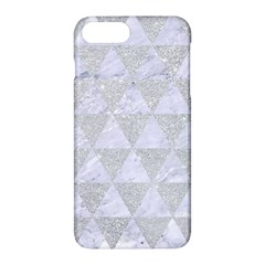 Triangle3 White Marble & Silver Glitter Apple Iphone 7 Plus Hardshell Case