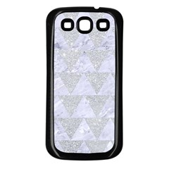 Triangle2 White Marble & Silver Glitter Samsung Galaxy S3 Back Case (black) by trendistuff