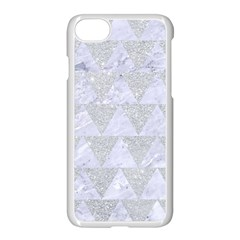 Triangle2 White Marble & Silver Glitter Apple Iphone 7 Seamless Case (white) by trendistuff