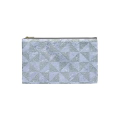 Triangle1 White Marble & Silver Glitter Cosmetic Bag (small)  by trendistuff