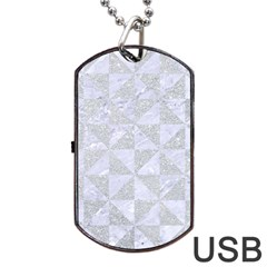 Triangle1 White Marble & Silver Glitter Dog Tag Usb Flash (two Sides) by trendistuff