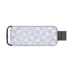 Triangle1 White Marble & Silver Glitter Portable Usb Flash (two Sides) by trendistuff