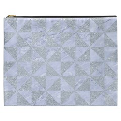 Triangle1 White Marble & Silver Glitter Cosmetic Bag (xxxl)  by trendistuff