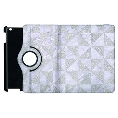 Triangle1 White Marble & Silver Glitter Apple Ipad 2 Flip 360 Case by trendistuff