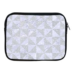 Triangle1 White Marble & Silver Glitter Apple Ipad 2/3/4 Zipper Cases by trendistuff