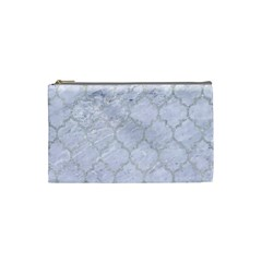 Tile1 White Marble & Silver Glitter (r) Cosmetic Bag (small)  by trendistuff
