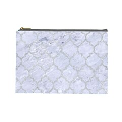 Tile1 White Marble & Silver Glitter (r) Cosmetic Bag (large)