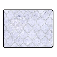 Tile1 White Marble & Silver Glitter (r) Double Sided Fleece Blanket (small)  by trendistuff