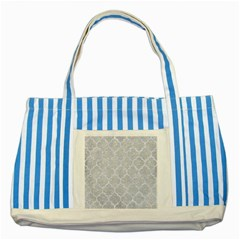 Tile1 White Marble & Silver Glitter Striped Blue Tote Bag by trendistuff