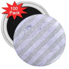 Stripes3 White Marble & Silver Glitter (r) 3  Magnets (100 Pack) by trendistuff