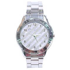 Stripes3 White Marble & Silver Glitter (r) Stainless Steel Analogue Watch by trendistuff