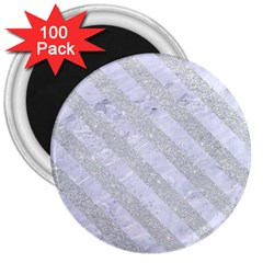 Stripes3 White Marble & Silver Glitter 3  Magnets (100 Pack) by trendistuff
