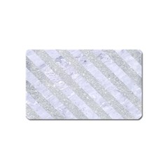 Stripes3 White Marble & Silver Glitter Magnet (name Card) by trendistuff