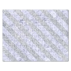 Stripes3 White Marble & Silver Glitter Rectangular Jigsaw Puzzl by trendistuff