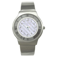 Stripes3 White Marble & Silver Glitter Stainless Steel Watch by trendistuff