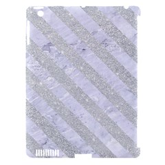 Stripes3 White Marble & Silver Glitter Apple Ipad 3/4 Hardshell Case (compatible With Smart Cover) by trendistuff