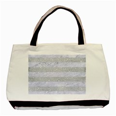 Stripes2white Marble & Silver Glitter Basic Tote Bag by trendistuff