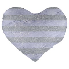 Stripes2white Marble & Silver Glitter Large 19  Premium Heart Shape Cushions by trendistuff