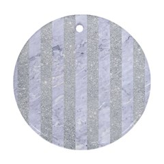 Stripes1 White Marble & Silver Glitter Ornament (round) by trendistuff