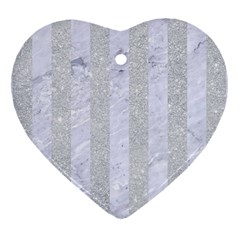 Stripes1 White Marble & Silver Glitter Heart Ornament (two Sides) by trendistuff