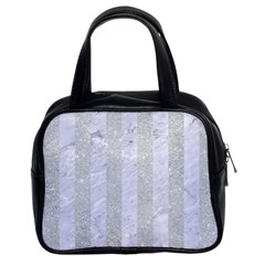 Stripes1 White Marble & Silver Glitter Classic Handbags (2 Sides) by trendistuff