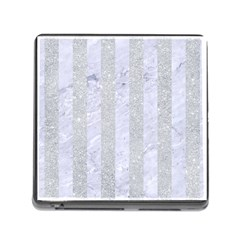 Stripes1 White Marble & Silver Glitter Memory Card Reader (square) by trendistuff