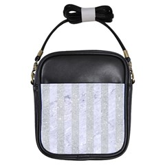 Stripes1 White Marble & Silver Glitter Girls Sling Bags by trendistuff