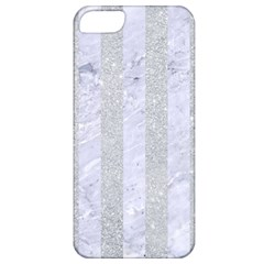 Stripes1 White Marble & Silver Glitter Apple Iphone 5 Classic Hardshell Case by trendistuff