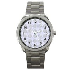 Square2 White Marble & Silver Glitter Sport Metal Watch by trendistuff