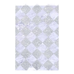 Square2 White Marble & Silver Glitter Shower Curtain 48  X 72  (small)  by trendistuff