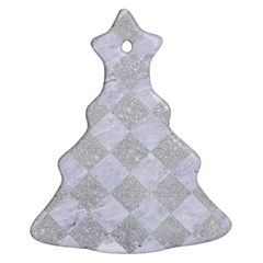 Square2 White Marble & Silver Glitter Ornament (christmas Tree)  by trendistuff