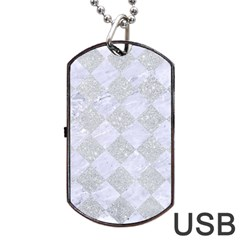 Square2 White Marble & Silver Glitter Dog Tag Usb Flash (one Side) by trendistuff