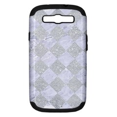 Square2 White Marble & Silver Glitter Samsung Galaxy S Iii Hardshell Case (pc+silicone) by trendistuff