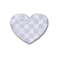 Square1 White Marble & Silver Glitter Heart Coaster (4 Pack)  by trendistuff