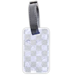 Square1 White Marble & Silver Glitter Luggage Tags (one Side)  by trendistuff
