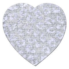 Skin5 White Marble & Silver Glitter (r) Jigsaw Puzzle (heart) by trendistuff
