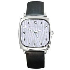 Skin4 White Marble & Silver Glitter (r) Square Metal Watch by trendistuff
