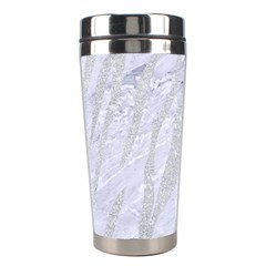 Skin3 White Marble & Silver Glitter (r) Stainless Steel Travel Tumblers by trendistuff