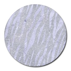 Skin3 White Marble & Silver Glitter Round Mousepads by trendistuff
