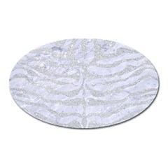 Skin2 White Marble & Silver Glitter (r) Oval Magnet by trendistuff