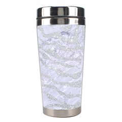 Skin2 White Marble & Silver Glitter (r) Stainless Steel Travel Tumblers by trendistuff