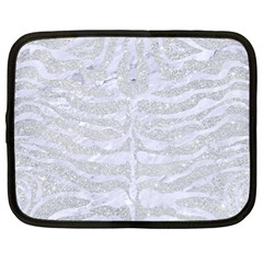 Skin2 White Marble & Silver Glitter Netbook Case (large)